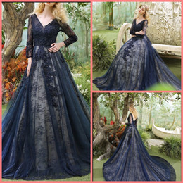 cheap corsets petite sizes UK - Robe de soiree navy blue lace appliques beaded 3 4 sleeve modest prom dress v neckline ball gown corset cheap prom gowns best selling 2019