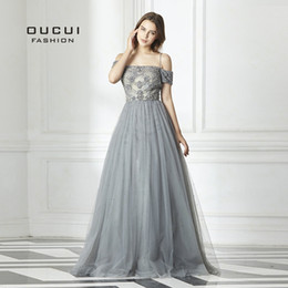 Formal Evening Gowns Australia - 2019 New Sexy Backless Long Evening Dress Tulle Formal Handmade Crystal Ball Gown Boat Neck Spaghetti Strap Hot Drill Ol103016 Y19051401