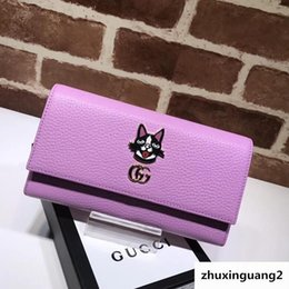 $enCountryForm.capitalKeyWord Australia - Top Quality 2019 Celebrity Design Letter Dog Head Metal Buckle Two Fold Wallet Long Purse Cowhide Leather 499324 Clutch