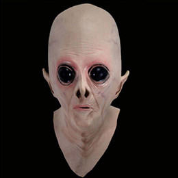 Full Face mask scary online shopping - Scary Full Face Latex Mask Alien UFO Extra Terrestrial Horror ET Masks for Halloween Party Cosplay Performance Makeup Toy Props