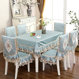 $enCountryForm.capitalKeyWord Australia - Hot Sale Lace Tablecloth For Wedding Party Home Daily Lace Satin Table Rectangular Round Table Cloth Chair Cover Y19062103