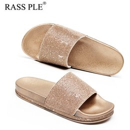 Discount thick soled canvas shoes - RASS PLE 2018 Fashion Crystal Slippers Rhinestone Sequin Flip Flops Sandals Anti-Slip Wearable Thick-Soled Summer Shoes