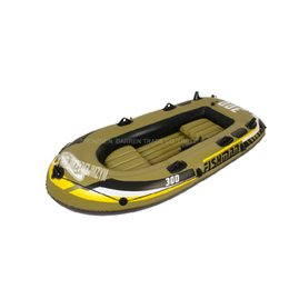 Wholesale Free ship DHL adult child preson inflatable fishing boat Rowing Boat PVC air kayak include two seat a pair of oars hand pump