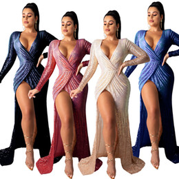 long sleeve maxi dresses Australia - Glitter Sequins Graceful Women Party Evening Dress Mermaid Front Split Deep V Neck Long Sleeves Stunning Nightclub Lady Dresses Real Pictur