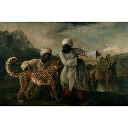 two horse oil painting Australia - George Stubbs paintings Cheetah With Two Indian Servants And A Deer hand painted canvas art horses image for living room decor