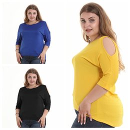 ac3cb38a5 Wholesale S-6XL Women T-shirt Double 1 2 short sleeve Chiffon Sexy Shoulder Tees  blouse fat Girl Ladies Large Loose casual Shirts Plus Size