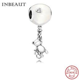 $enCountryForm.capitalKeyWord Australia - fit Pandora Beads Bracelet Original 925 Pure Silver Clever Little Bear White Balloon Enamel Hole Charm Pendant for Hand Chain