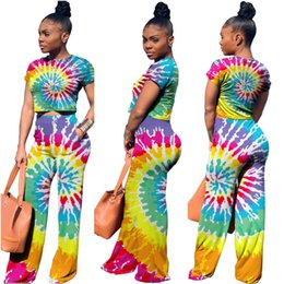 Piece Paintings Australia - Fashion Women's Tracksuit Two Piece Outfits Painting Tie-dye Short Sleeve Sweatshirt Tops And Wide Leg Pants Set Casual Clothes Y19042901