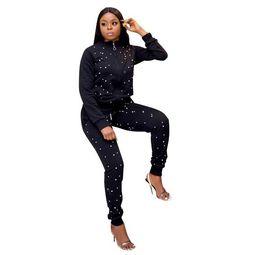 Yoga Pants Jacket UK - Women's Tracksuits Sexy Cardigan Beading Coat Jacket Slim Suit Hoodie Outerwear Sweatshirt Pants Suit Solid Color Sportswear wholesal