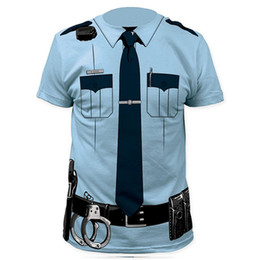 police cosplay 2019 - Men Pilot Police 3d T Shirt Doctor Gentleman Adult Funny Party Cop Punpkin Pirate Sailor Santa Claus Carnival Cosplay Cl