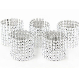 $enCountryForm.capitalKeyWord Australia - Wholesale- 50pcs 8Rows Diamond Mesh Rhinestone Bow Covers Holders Wedding Napkin Rings DIY Decorations Table Decor Craft Wholesale