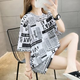 fashion t shirts for women NZ - Summer women loose long oversize t-shirt casual fashion print newspaper letters t for girls short sleeves t shirt plus size women clothing