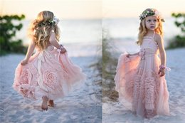 girls pageant dresses baby pink Australia - Cheap Pink Flower Girl Dresses Spaghetti Ruffles Hand made Flowers Lace Tutu Vintage Little Baby Pageant Gowns for Communion Boho M6