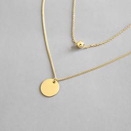 Plata de ley 925 de múltiples capas collares de cadena para las mujeres nuevo geométrico simple roundbeads collar colgante de joyería fina en venta