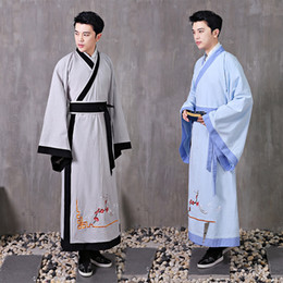 $enCountryForm.capitalKeyWord NZ - Hanfu male ancient Chinese costume cosplay stage wear traditional clothing for men Chinese national scholar gown cotton linen robe