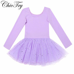 long sleeve ballet dress NZ - Sequins Long Sleeves Shiny Mesh Ballet Dance Gymnastics Leotard Dress for Ballet Class Stage Performance Tutu Dancewear Clothes