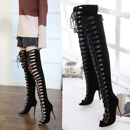 knee high tie up boots Canada - New Women Over The Knee Boots Sexy Peep Toe Cross tied Lace Up Thigh High Boots Summer Hollow Rome High Heel Ladies Pumps Shoes
