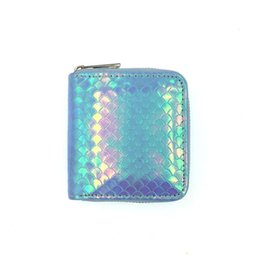 Lined Clips UK - Mermaid Lines Small Wallets Sequin Lady Short Purse Women PU Zipper Wallet Handbag Coin Purses Clutch Card Holder Money Clip Case BC BH1632