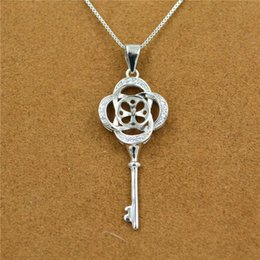 $enCountryForm.capitalKeyWord NZ - S925 pure silver key sweater chain pendant mountings inlaid freshwater pearls wholesale DZ047