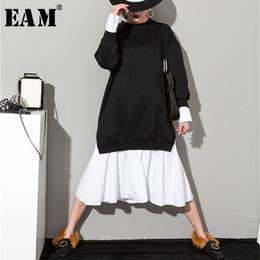Ruffled Sleeve Sweatshirt NZ - [eam] 2019 New Spring Solid Color Round Neck Long Sleeve Black White Split Joint Women Korean Sweatshirts Dress As20941 Y190425