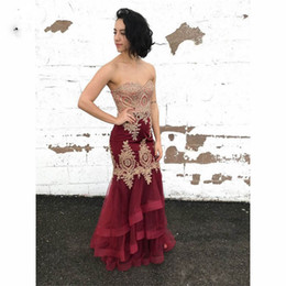summer long dresses for teens NZ - Burgundy Mermaid Evening Dresses Long Appliques Prom dress for teens Ruffles Formal Evening Dress for Women