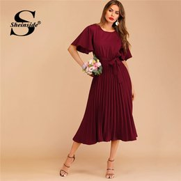 05e7ec2dff2cfd Sheinside Burgundy Button Keyhole Pleated Belted Dress Flounce Sleeve Women  2019 Spring Dresses Elegant Solid Ladies Dress