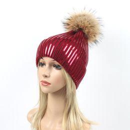 $enCountryForm.capitalKeyWord Australia - Sequins Embroidery Winter Hats Women Raccoon Fur Pom Pom Hat Female Girl Wool Knitted Beanies paillette Gravity Falls Cap