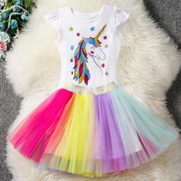 $enCountryForm.capitalKeyWord Australia - Unicorn Rainbow Dresses, European and American Birthday Girl Princess Skirts, 2019 New Products Cartoon Skirts Wholesale