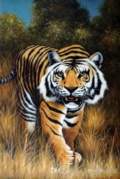 $enCountryForm.capitalKeyWord Australia - Framed Bengal Tiger Big Cat Endangered Species Hunting Stalking,Genuine Handpainted Animal Art oil Painting Museum Quality Multi size J045