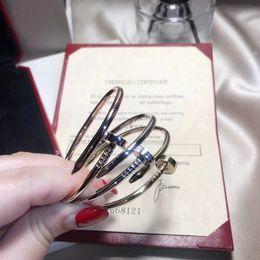 Ladies bangLes stones online shopping - Women s Nail Bangle Fashion Titanium Steel K Rose Gold Bangle Letter Print without Stone Lady Wedding Dance Party Wristband Bracelets