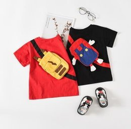 Short T Shirt Model Girl Australia - Spring and summer new ins children's clothing explosion models two-color backpack creative short-sleeved T-shirt boys and girls cute T-