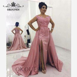 $enCountryForm.capitalKeyWord Australia - Vogue Overskirts Evening Dress With Appliques 2020 Dark Pink Satin Long Chapel Train Off Shoulder Prom Dresses Party For Women