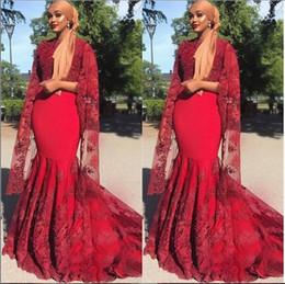 Zuhair Murad Dress Red Inspired UK - Elegant Evening Formal Dresses 2019 Long Sleeve Res Lace Mermaid Special Occasion African dresses zuhair murad Evening Gowns Abendkleider