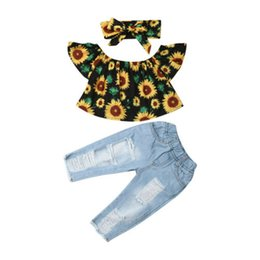 toddler girl jeans shorts UK - Toddler Kids Baby Girl Floral Off Shoulder Outfit Clothing Set Blouse Crop Top Denim Jeans Pants Children Summer Sunsuit Clothes