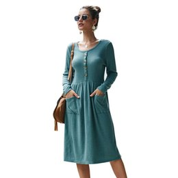 mini long loose sweater dresses Australia - Slim Fit Knitted Crew Neck Long Sleeve Knee Length Warm Pleated Loose Swing Pullover Long Sweater Casual Dresses with Pockets and Buttons
