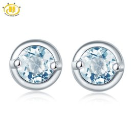 natural stone stud earrings Canada - Hutang Stone Jewelry Natural Gemstone Aquamarine Stud Earrings Solid 925 Sterling Silver Fine Fashion Jewelry For Birthday Gift Y190125