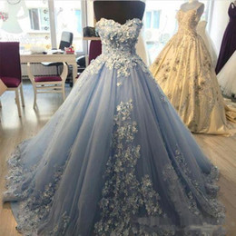 Long sLeeve bead gown online shopping - Light Blue Ball Gown Quinceanera Dresses With D Floral Applique evening Dresses Sweet Gowns Sweetheart lace up Tulle pageant Dress