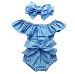 Denim infant clothing online shopping - kids designer clothes girls ruffle collar romper infant toddler Bow Denim Jumpsuits Summer Boutique baby Climbing Clothing C6537