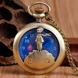 $enCountryForm.capitalKeyWord Australia - The Little Prince Blue Planet Cartoon Kids Quartz Pocket Watch Ancient Bronze Fob Necklace Chain Fashion Jewelry