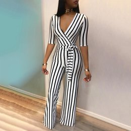 jumpsuits one leg Australia - Women Elegant Deep V One Piece Striped Overall Rompers Waist Belted Wide Leg Office Sexy Jumpsuit Bodycon Bodysuit