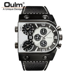 oulm men military watches Australia - Brand New Oulm Watch Quartz Sports Men Leather Strap Watches Fashion Male Military Wristwatch Running Cool Relojioes Clock Masculino