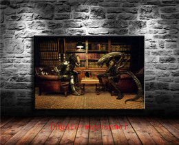 canvas aliens Australia - Alien Vs Predator 3 Play Chess , Canvas Pieces Home Decor HD Printed Modern Art Painting on Canvas (Unframed Framed)
