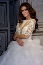 EuropEan modEls lacE drEss online shopping - Sheer Long Sleeves Tulle A Line Wedding Dresses Pearls Beaded Lace Appliques Formal Bridal Gowns European Robe De Marriage Plus Size