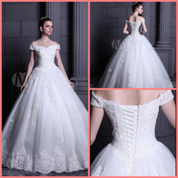 Pictures White Short Gown Sexy Australia - 2019 Vestido De Festa white lace appliques ball gown wedding dress off the shoulder short sleeve v neck formal wedding gowns