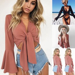 $enCountryForm.capitalKeyWord Australia - Sexy Women V- Neck Long Flare Sleeve T-Shirt Crop Tops Solid Slim Bow Tie Front Short Summer Beach Tee Top