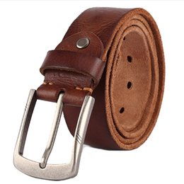 wide red leather belt UK - Luxury Belt Men's Belts Pronged Buckle Man's Genuine Leather Strap For Jean High Quality Wide Brown Color Fashion Dropship Q190417