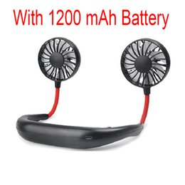 $enCountryForm.capitalKeyWord Australia - Portable Wearable Mini Air Cooling Fans USB Rechargeable 1200mAh Battery Neckband 3 Speed Adjustable Neck Sport Running Fan