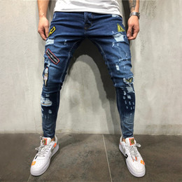 Wholesale jeans fashion trends for sale - Group buy Nens Jeans summer Holes badges embroidered labeling fashion trend jeans new fashion hip hop jeans