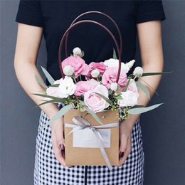 Christmas Foods Gifts Australia - Christmas Gift Wrapping Bags With Handle Wedding Birthday Party Favor Gift Kraft Paper Package Bags Food Flower Storage Bag