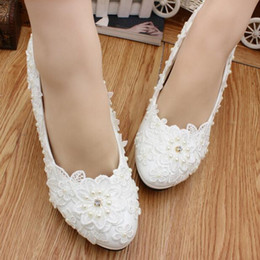 3a9f28d61f Modern Beads White Lace Low Heel Beach Wedding Shoes Crystal Summer Holiday  Seaside Toe Sandals Bridal Shoes Evening Party Prom Women Shoes